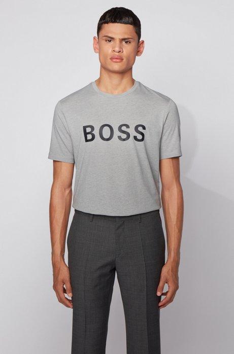 Logo T-shirt in a single-jersey cotton blend, Light Grey
