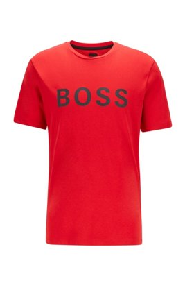 Logo T-shirt in a single-jersey cotton blend, Red
