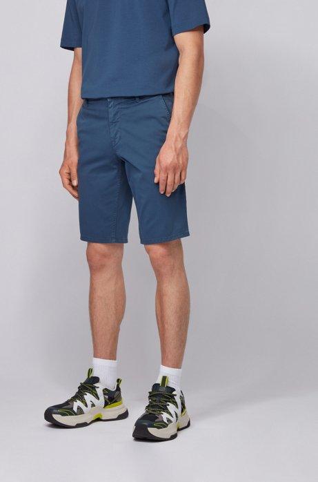 Slim-fit chino shorts in lightweight stretch-cotton twill, Dark Blue