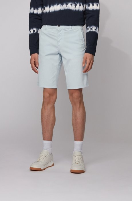 Slim-fit chino shorts in lightweight stretch-cotton twill, Light Blue