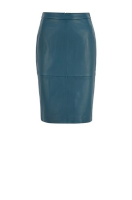 Leather pencil skirt with back slit, Dark Blue