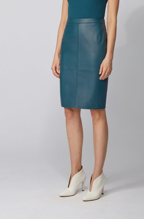 Leather pencil skirt with side slit, Dark Blue