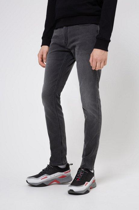 Skinny-fit jeans in used-effect gray stretch denim, Dark Grey
