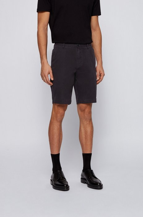 Slim-fit shorts in stretch cotton with French pocket, Black