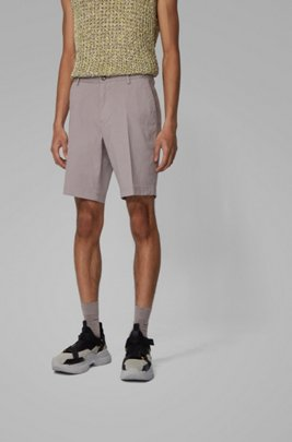 Slim-fit shorts in stretch cotton with French pocket, Silver