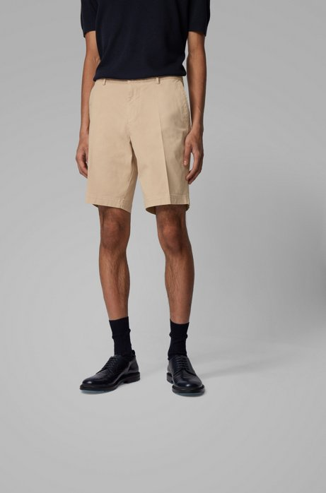 Slim-fit shorts in stretch cotton with French pocket, Light Beige