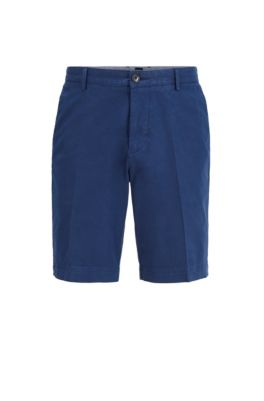 Slim-fit shorts in stretch cotton with French pocket, Dark Blue