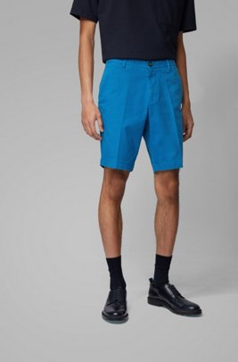 Slim-fit shorts in stretch cotton with French pocket, Blue