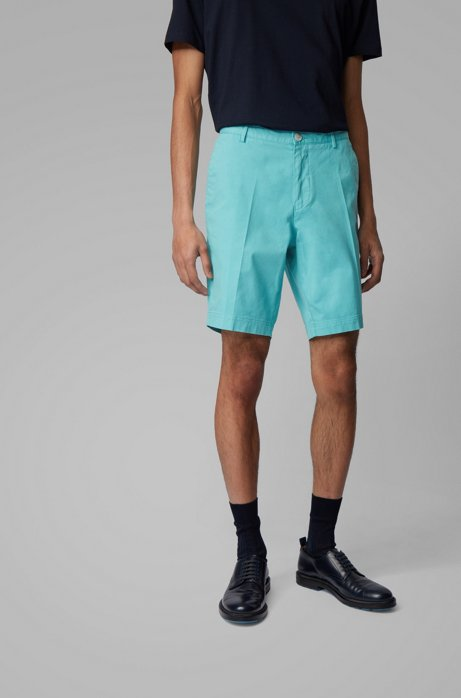 Slim-fit shorts in stretch cotton with French pocket, Light Blue