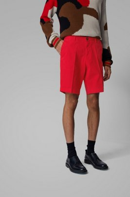 Slim-fit shorts in stretch cotton with French pocket, Red