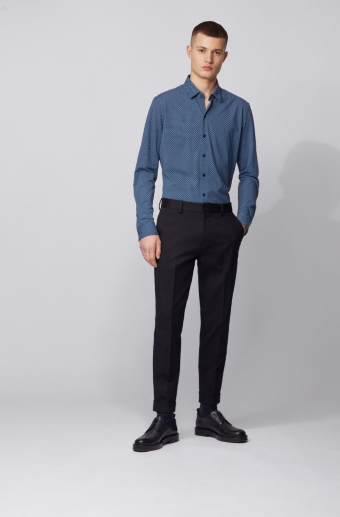 Regular-fit shirt in patterned Italian stretch fabric
