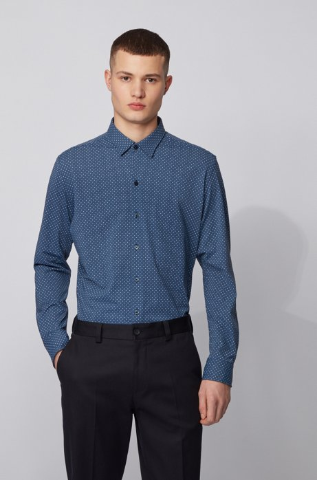 Regular-fit shirt in patterned Italian stretch fabric, Open Green