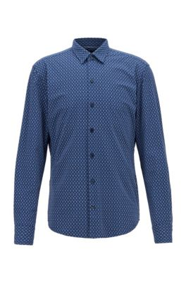 Regular-fit shirt in Italian printed jersey, Blue