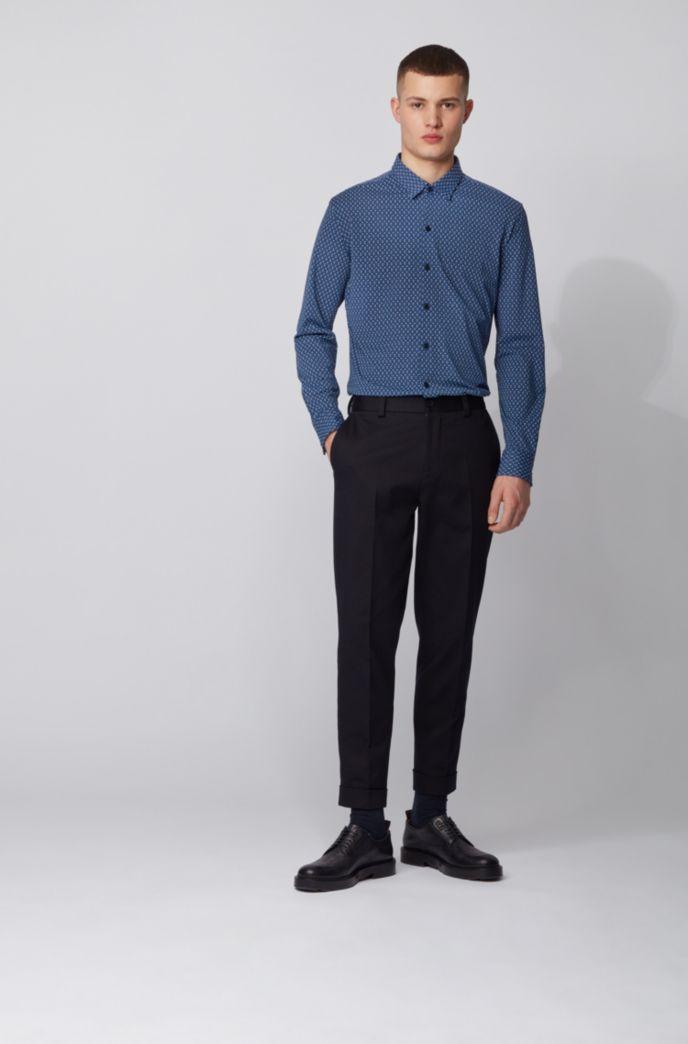 Regular-fit shirt in Italian printed jersey