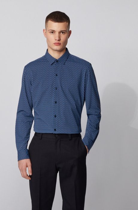 Regular-fit shirt in Italian printed jersey, Blue