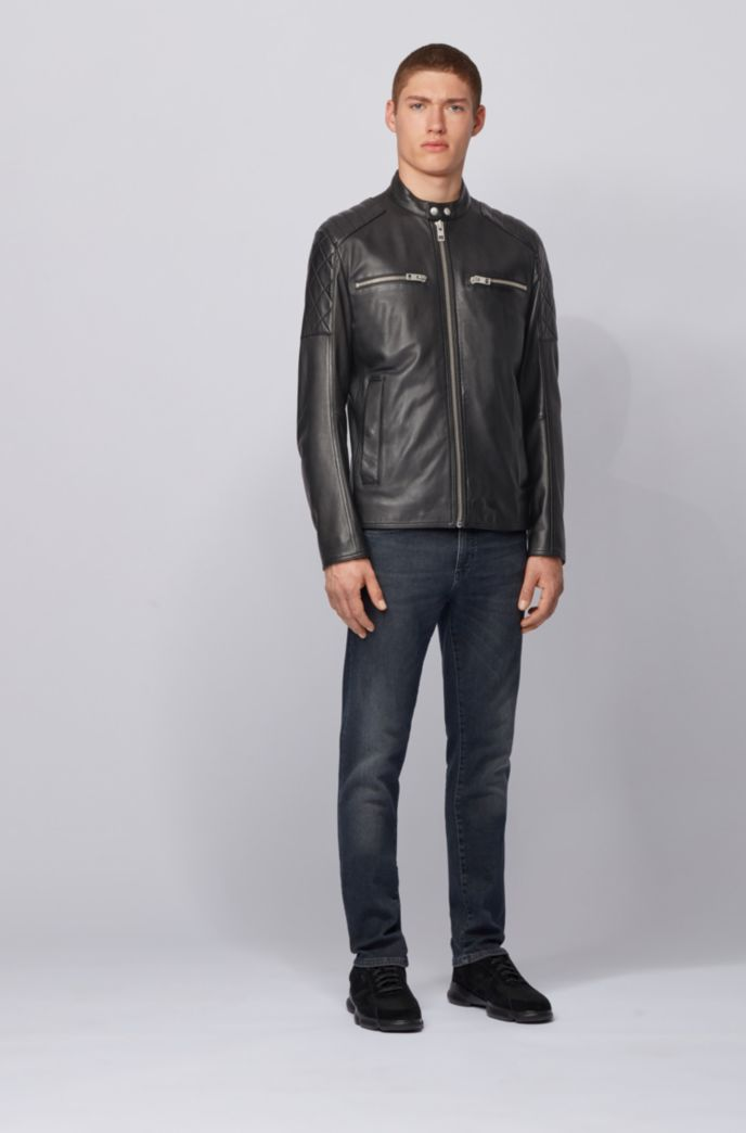 Slim-fit biker jacket in leather with quilted details