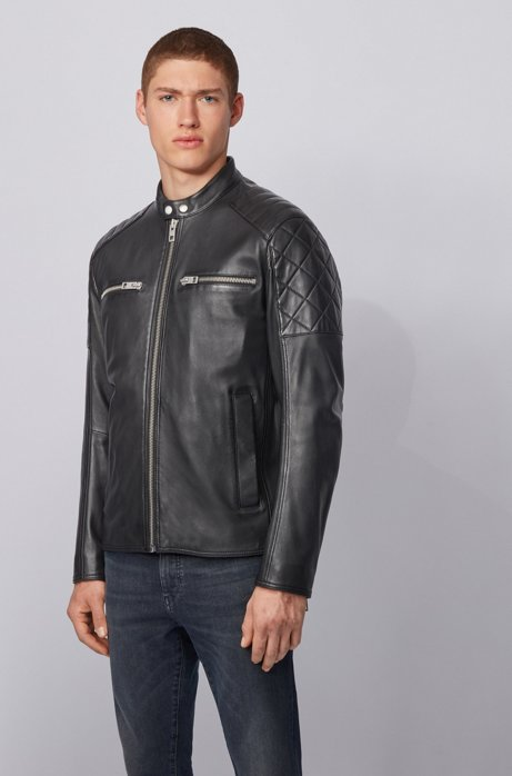 Slim-fit biker jacket in leather with quilted details, Black