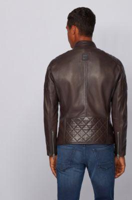 hugo boss men's black leather jacket