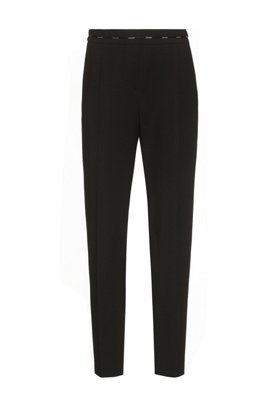 Regular-fit cigarette pants with hardware-trimmed waistband, Black