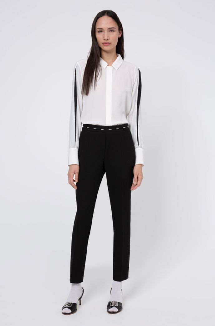 Regular-fit cigarette pants with hardware-trimmed waistband