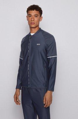 Zip-through logo sweatshirt in stretch fabric with S.Café®, Dark Blue