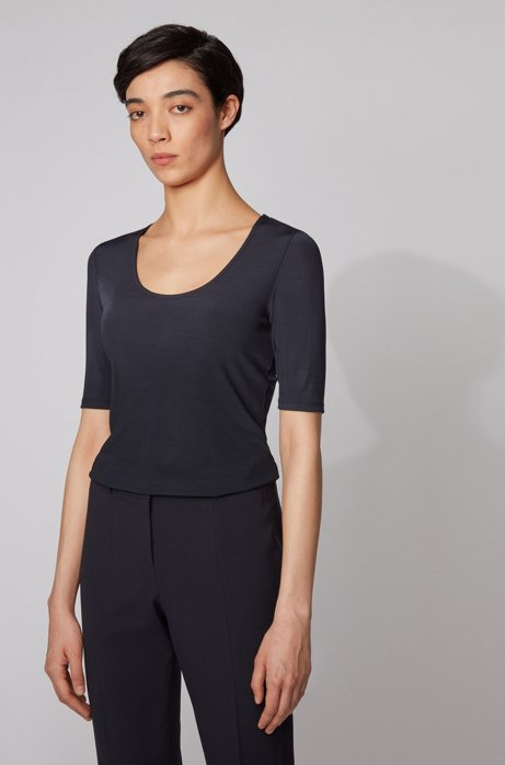 Slim-fit top in ribbed stretch jersey, Light Blue