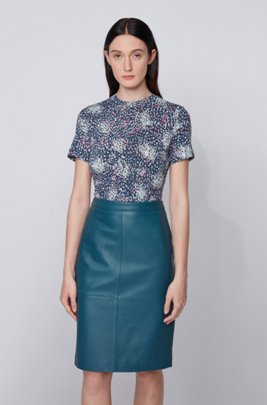 Ruched-front jersey top with exclusive print, Patterned