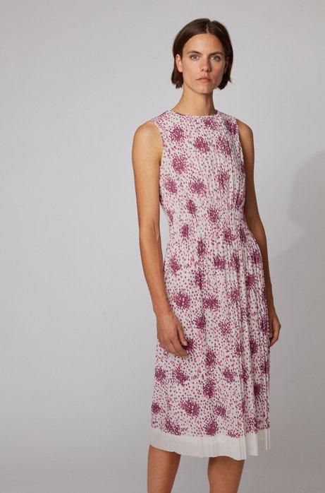 Plissé-jersey dress with multi-colored print, Patterned