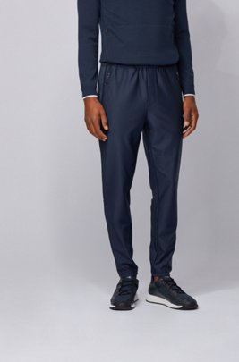 Pinstripe-detail jogging pants in S.Café® fabric, Dark Blue