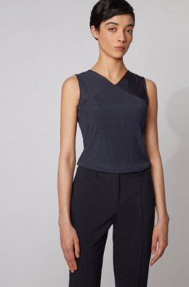 Stretch-jersey V-neck top with placed ribbing, Light Blue