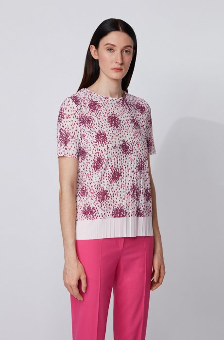 Plissé-jersey top with multi-colored print, Patterned