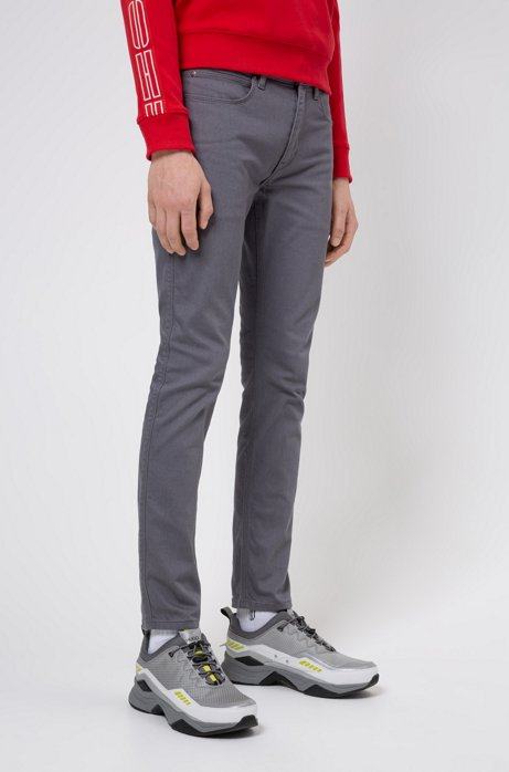Skinny-fit jeans in rinse-washed stretch denim, Dark Grey