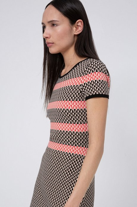 Short-sleeved dress with geometric jacquard knit, Patterned