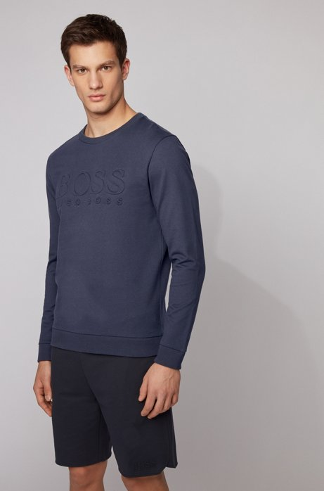 Loungewear sweatshirt in French terry cotton with chest logo, Light Blue