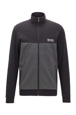 Color-block loungewear jacket with contrast logo, Black
