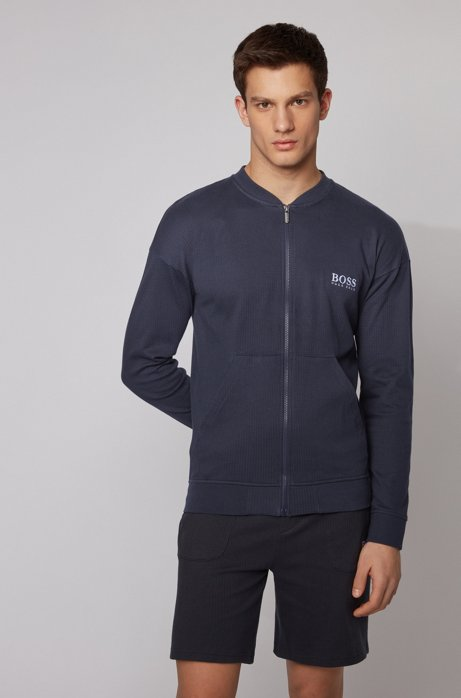 Zip-through loungewear jacket in cotton with ribbed structure, Light Blue