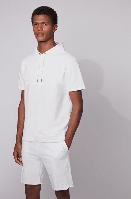 Hooded loungewear T-shirt in French terry with embossed logo, White
