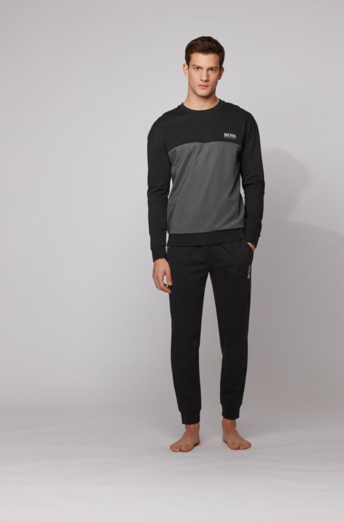Cuffed jogging pants in knitted piqué with contrast inserts