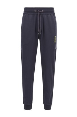 Cuffed jogging pants in knitted piqué with contrast inserts, Dark Blue
