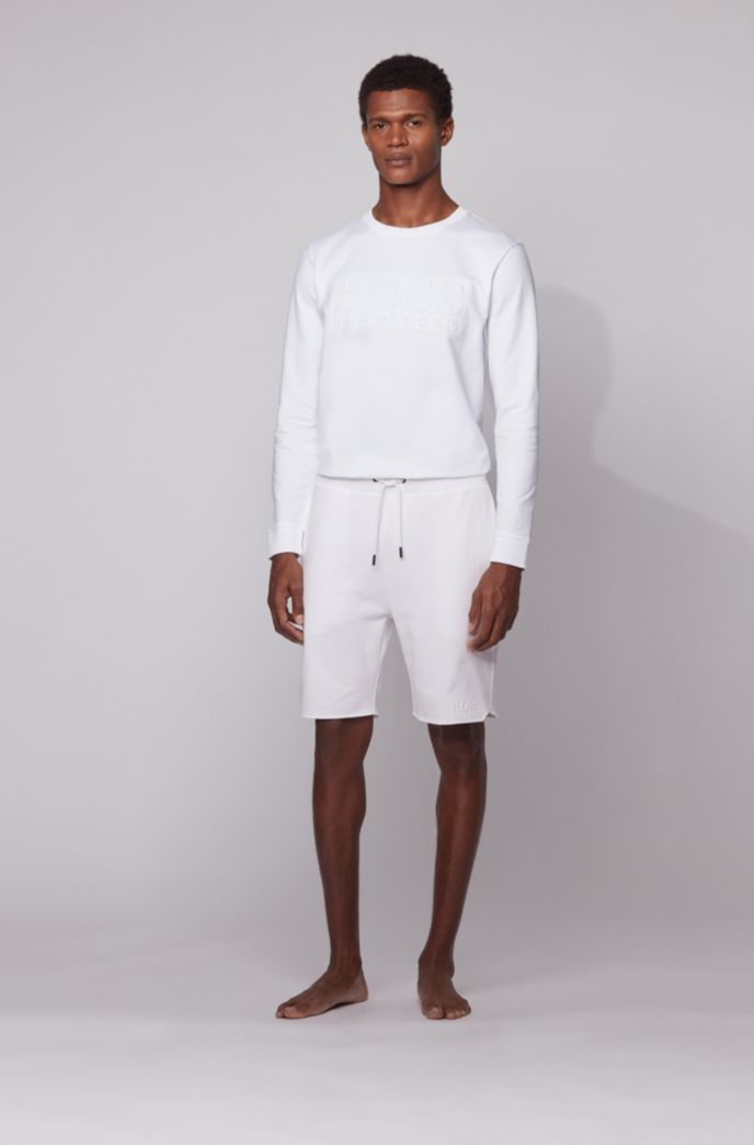 Loungewear shorts in French terry cotton with sporty hemline