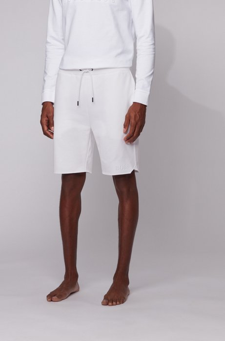 Loungewear shorts in French terry cotton with sporty hemline, White