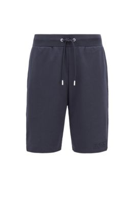 Loungewear shorts in French terry cotton with sporty hemline, Light Blue