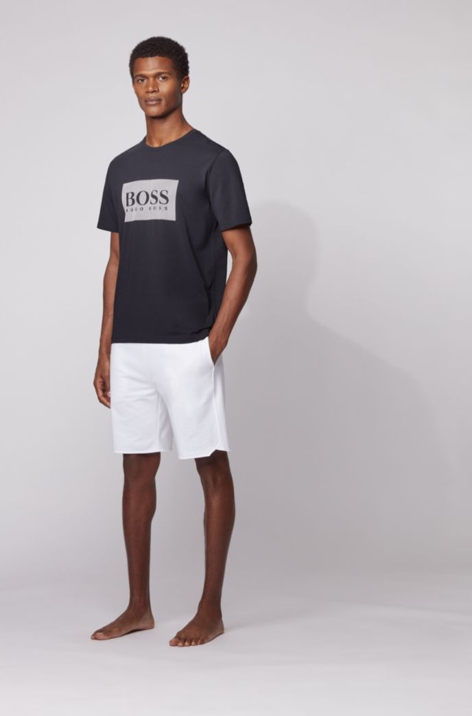Loungewear T-shirt in stretch cotton with contrast logo