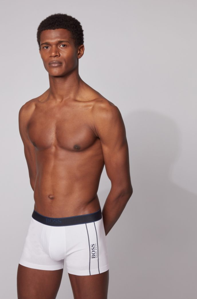 Stretch-cotton trunks with contrast logos