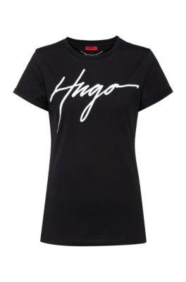 Cotton jersey T-shirt with handwritten-logo print, Black