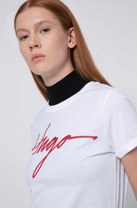 Cotton jersey T-shirt with handwritten-logo print, White