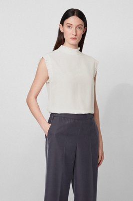 Sleeveless top in sand-washed silk with ruffle trims, White