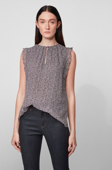Ruffle-trim sleeveless blouse in dot-print crepe, Patterned