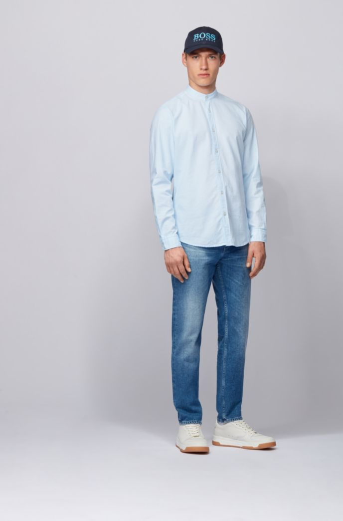 Regular-fit shirt in mini structured stripe with stand collar