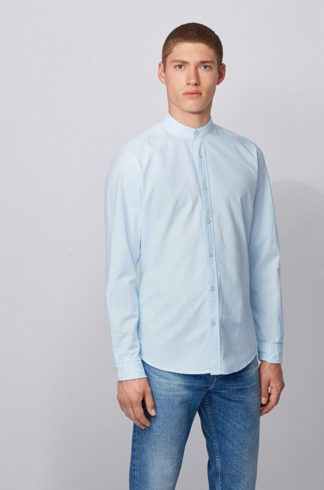 Regular-fit shirt in mini structured stripe with stand collar, Light Blue